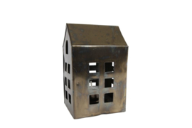"Theelichthouder ""House"" S messing metaal 7,5x6,5x12,5cm"