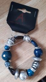 Kralen armband blauw/metaal