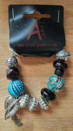 Kralen armband blauw/metaal/zwart