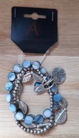 Kralen armband blauw/metaal 3 delig
