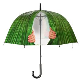 Paraplu kiekeboe bladlook met transparante doorkijk