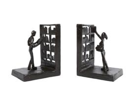 Boekensteun Library zwart metaal 17x10x8,5 cm