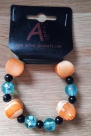 Kralen armband blauw/oranje