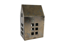 """Theelichthouder """"House"""" L messing metaal 10x7,5x16,5cm"""