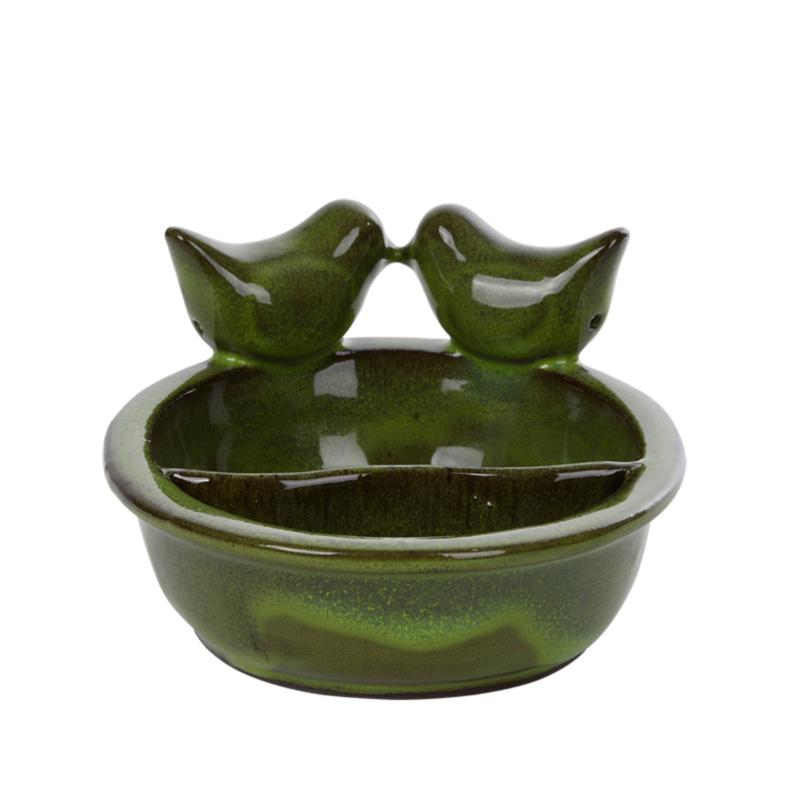 Vogel voeder/drinkschaal keramiek groen