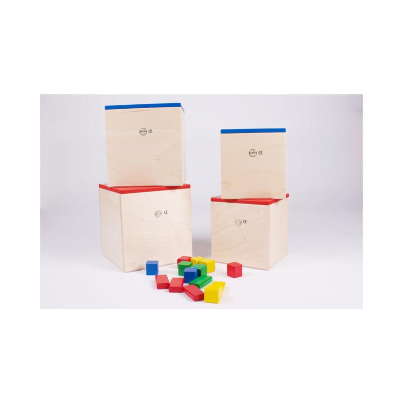 Kist met houten bouwblokken (50 stuks), handgemaakt