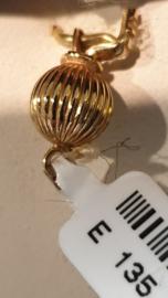 Gouden geripte bol sluiting  7 mm