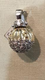 Zwaar 2 kleuren gouden roterende bol met Zirkonia 20/12 mm 5 gram