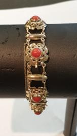 Gouden schakel armband met Bloedkoraal 15 gram 12 mm / 18 cm