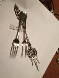 Zilver kinder vorkje  Cornelis Kalis , vleesvorkje AM Sustring en keek prikker 1932
