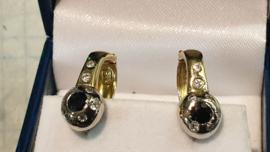 14 kr gouden oor-stekers met zirkoon en blauw saffier en stift en sluithaak