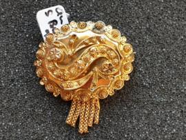 Streek sjaal broche model S met kwast 1920  goud  3 cm
