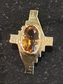 14 Kr Gouden hanger met citrien model 1950 4 / 2.5 cm 6.4 gram