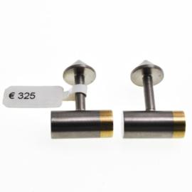 staal met gouden  Manchetknopen  50% korting