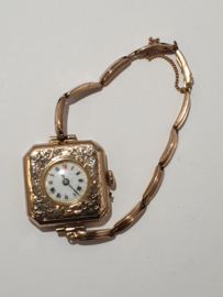 Antiek gouden dames horloge met rekbare gouden band 12 gram bruto