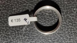 Edelstaal damesring  4 mm breed  en 4x Briljanten maat 18 nieuw