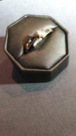 3 kleuren goud damesring met rechthoek geslepen diamant 0.08crt  Tw - E