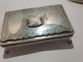 Tabaks-doos vermaak tot lepel doos zilver 1960 Voorburg DJ Aubert