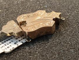 Goud bijbel sloten biedemeier gegraveerd 3.3 bij 2.7 cm