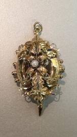 Mooie grote antieke streek broche en hanger met parel complete staat 4,5 cm