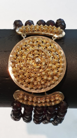 Antiek granaat armband 20 cm groot goud slot 3x5.5 cm  5.5 mm kraal 3 rijen