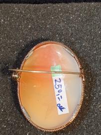 Mooie oude gouden Camee broche geen scheuren 14 kr  4.2 bij 3.2 cm