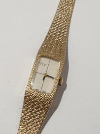 Gouden dames horloge met Milanese gouden band Pontiac maat 16,5 cm