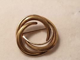 Leuk twee kleuren goud broche 14 Kr  rond  2.5 cm 3 gram