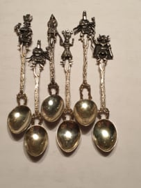 6x Zilver lepeltjes  mythische voorstelling Holland zilver eind 19e eeuw