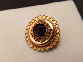 Antiek gouden ronde broche met granaat 3.2 gram 2 cm