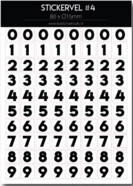 Stickervel - zwart/wit cijfers (1 vel)