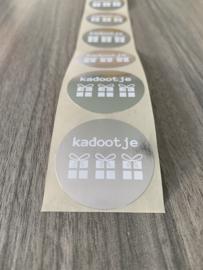 Cadeau (Sluit)sticker kadootje zilver