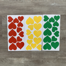DIY hartjes rood/geel/groen raamsticker 36 stuks