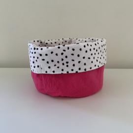 Commode mandje rond roze/dots