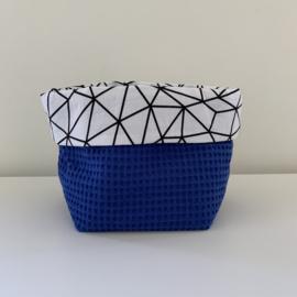 Commode mandje recht blauw/mozaiek