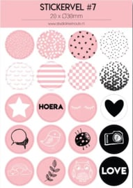 Stickervel roze