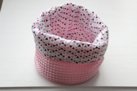 Commode mandje rond roze/triangle
