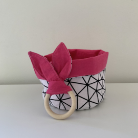 Commode mandje rond roze/mozaiek