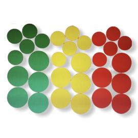 DIY Confetti rood/geel/groen raamsticker 30 stuks
