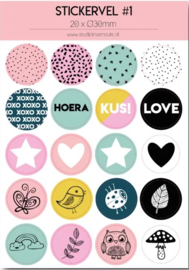 Stickervel multi roze