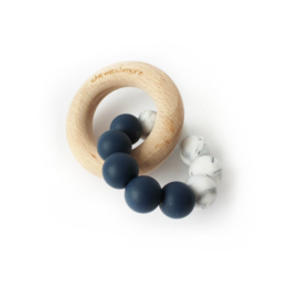 Chewie basic rattle mini: deep blue & marble