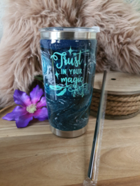 "RVS dubbelwandige thermos beker ""Trust in your Magic"""