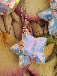 Wire wrapped Ster hanger Angel aura kwarts. (nr 3)