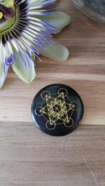 Zwarte Agaat platte ronde schijf Metatron kubus