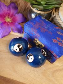 Meridiaankogels blauw met Yin Yang