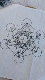 Katoenen Kristal raster doek met Metatron Kubus