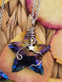 Wire wrapped Ster hanger Rainbow (regenboog/titanium) aura. (nr 3)