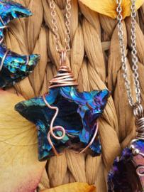 Wire wrapped Ster hanger Rainbow (regenboog/titanium) aura. (nr 4)