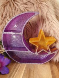 """""""Moon and star Shelf""""  /  Maankast met ster staand / paars"""
