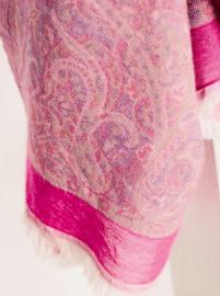 Jo Edwards sjaal roze paisley rand, 100% katoen, 70x200 cm